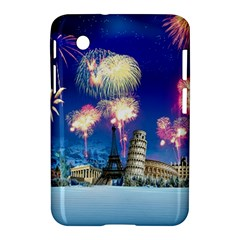 Happy New Year Celebration Of The New Year Landmarks Of The Most Famous Cities Around The World Fire Samsung Galaxy Tab 2 (7 ) P3100 Hardshell Case