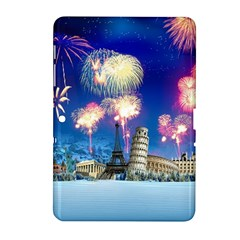 Happy New Year Celebration Of The New Year Landmarks Of The Most Famous Cities Around The World Fire Samsung Galaxy Tab 2 (10 1 ) P5100 Hardshell Case