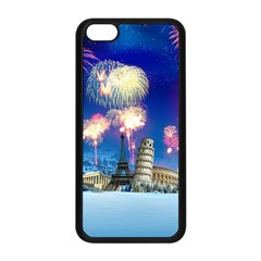 Happy New Year Celebration Of The New Year Landmarks Of The Most Famous Cities Around The World Fire Apple Iphone 5c Seamless Case (black)