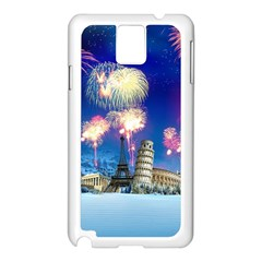 Happy New Year Celebration Of The New Year Landmarks Of The Most Famous Cities Around The World Fire Samsung Galaxy Note 3 N9005 Case (white)