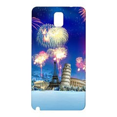 Happy New Year Celebration Of The New Year Landmarks Of The Most Famous Cities Around The World Fire Samsung Galaxy Note 3 N9005 Hardshell Back Case