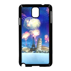 Happy New Year Celebration Of The New Year Landmarks Of The Most Famous Cities Around The World Fire Samsung Galaxy Note 3 Neo Hardshell Case (black)