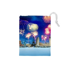 Happy New Year Celebration Of The New Year Landmarks Of The Most Famous Cities Around The World Fire Drawstring Pouches (small)