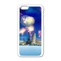 Happy New Year Celebration Of The New Year Landmarks Of The Most Famous Cities Around The World Fire Apple Iphone 6/6s White Enamel Case