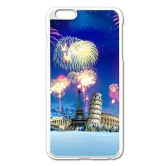 Happy New Year Celebration Of The New Year Landmarks Of The Most Famous Cities Around The World Fire Apple Iphone 6 Plus/6s Plus Enamel White Case