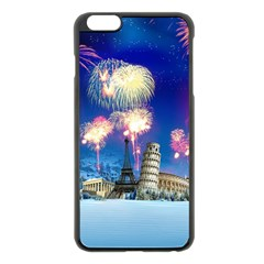 Happy New Year Celebration Of The New Year Landmarks Of The Most Famous Cities Around The World Fire Apple Iphone 6 Plus/6s Plus Black Enamel Case
