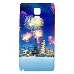 Happy New Year Celebration Of The New Year Landmarks Of The Most Famous Cities Around The World Fire Galaxy Note 4 Back Case