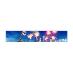 Happy New Year Celebration Of The New Year Landmarks Of The Most Famous Cities Around The World Fire Flano Scarf (Mini)