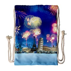 Happy New Year Celebration Of The New Year Landmarks Of The Most Famous Cities Around The World Fire Drawstring Bag (large)