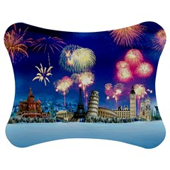 Happy New Year Celebration Of The New Year Landmarks Of The Most Famous Cities Around The World Fire Jigsaw Puzzle Photo Stand (bow)