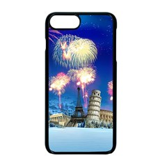 Happy New Year Celebration Of The New Year Landmarks Of The Most Famous Cities Around The World Fire Apple Iphone 7 Plus Seamless Case (black)