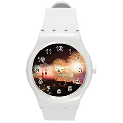 Kuwait Liberation Day National Day Fireworks Round Plastic Sport Watch (m)
