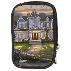 Landscape House River Bridge Swans Art Background Compact Camera Cases