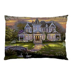 Landscape House River Bridge Swans Art Background Pillow Case (two Sides)