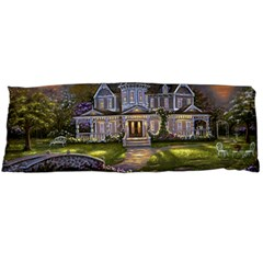 Landscape House River Bridge Swans Art Background Body Pillow Case Dakimakura (two Sides)