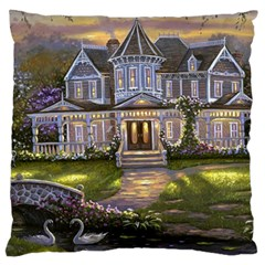Landscape House River Bridge Swans Art Background Large Cushion Case (two Sides)