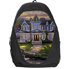 Landscape House River Bridge Swans Art Background Backpack Bag