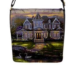 Landscape House River Bridge Swans Art Background Flap Messenger Bag (l)