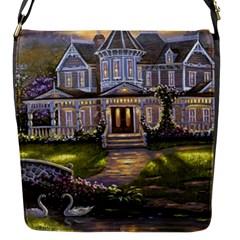 Landscape House River Bridge Swans Art Background Flap Messenger Bag (s)