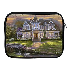 Landscape House River Bridge Swans Art Background Apple Ipad 2/3/4 Zipper Cases