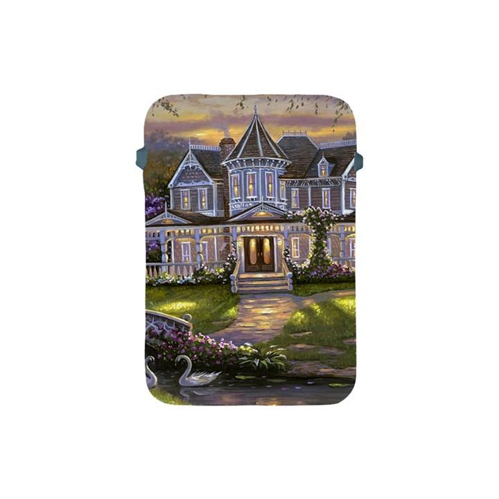 Landscape House River Bridge Swans Art Background Apple iPad Mini Protective Soft Cases