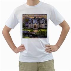 Landscape House River Bridge Swans Art Background Men s T Shirt (white)