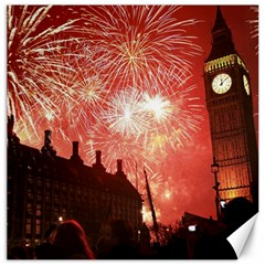 London Celebration New Years Eve Big Ben Clock Fireworks Canvas 16  X 16