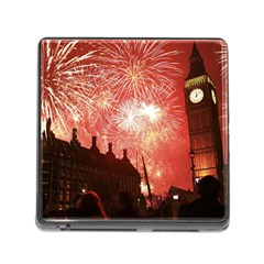 London Celebration New Years Eve Big Ben Clock Fireworks Memory Card Reader (square)