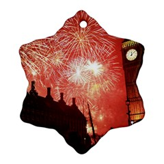 London Celebration New Years Eve Big Ben Clock Fireworks Snowflake Ornament (two Sides)