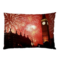 London Celebration New Years Eve Big Ben Clock Fireworks Pillow Case (two Sides)