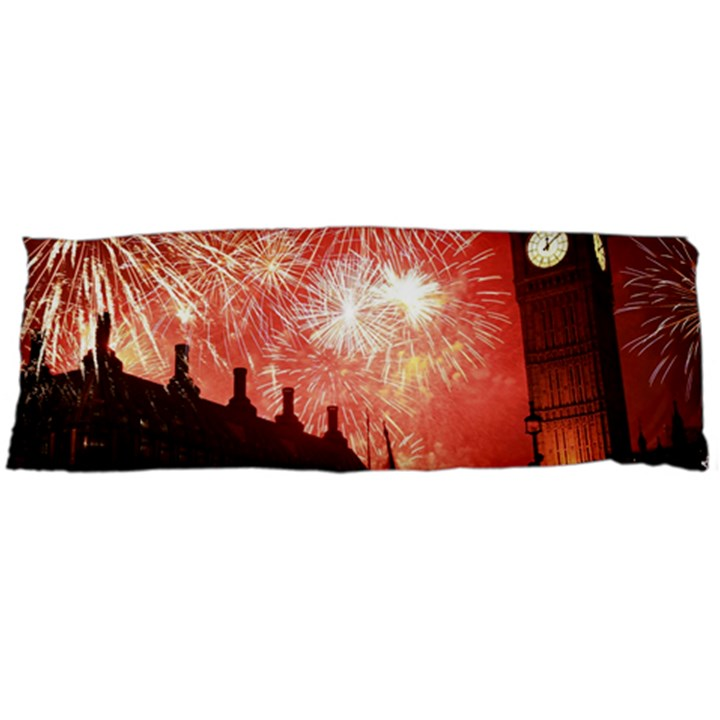 London Celebration New Years Eve Big Ben Clock Fireworks Body Pillow Case Dakimakura (Two Sides)