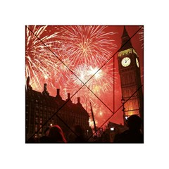 London Celebration New Years Eve Big Ben Clock Fireworks Acrylic Tangram Puzzle (4  X 4 )