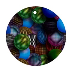 Multicolored Patterned Spheres 3d Ornament (round)