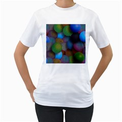 Multicolored Patterned Spheres 3d Women s T Shirt (white) (two Sided)