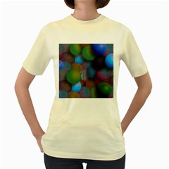 Multicolored Patterned Spheres 3d Women s Yellow T Shirt