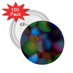 Multicolored Patterned Spheres 3d 2 25  Buttons (100 Pack)