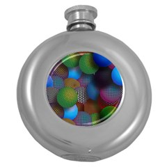 Multicolored Patterned Spheres 3d Round Hip Flask (5 Oz)