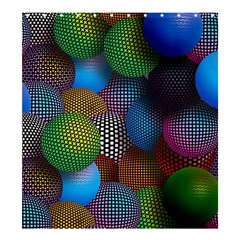 Multicolored Patterned Spheres 3d Shower Curtain 66  X 72  (large)