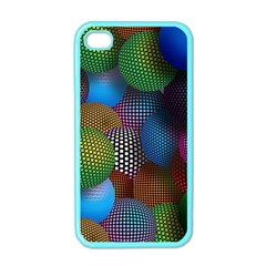Multicolored Patterned Spheres 3d Apple Iphone 4 Case (color)