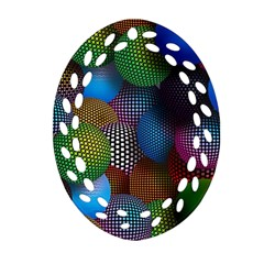 Multicolored Patterned Spheres 3d Ornament (oval Filigree)