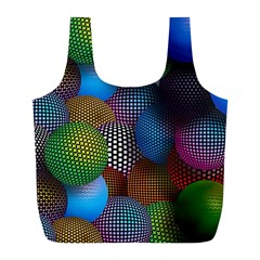 Multicolored Patterned Spheres 3d Full Print Recycle Bags (l)
