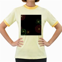 Neon Flowers And Swirls Abstract Women s Fitted Ringer T Shirts