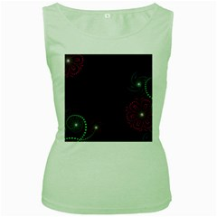 Neon Flowers And Swirls Abstract Women s Green Tank Top