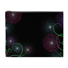 Neon Flowers And Swirls Abstract Cosmetic Bag (xl)