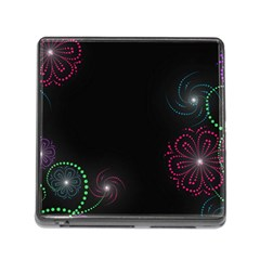 Neon Flowers And Swirls Abstract Memory Card Reader (square)