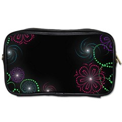 Neon Flowers And Swirls Abstract Toiletries Bags 2 Side