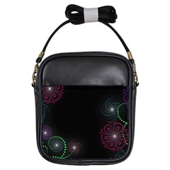Neon Flowers And Swirls Abstract Girls Sling Bags