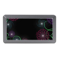 Neon Flowers And Swirls Abstract Memory Card Reader (mini)