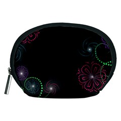 Neon Flowers And Swirls Abstract Accessory Pouches (medium)