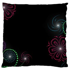 Neon Flowers And Swirls Abstract Large Flano Cushion Case (one Side)